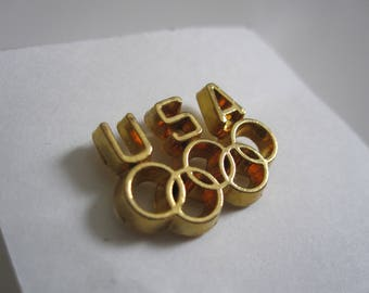 USA olympic rings button pin gold plated