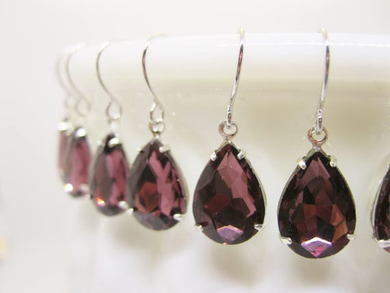 Burgundy Bridesmaid Earrings Set of 9 Pairs Garnet Rhinestone Drop Earrings Bridal Sets Vintage Style Wedding Jewelry Choose your Metal