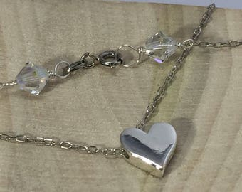 Heart Necklace, Sterling silver 3D Heart charm, Heart Charm Necklace, READY TO SHIP
