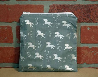 One Sandwich Bag, Reusable Lunch Bags, Waste-Free Lunch, Machine Washable, Unicorns, Sandwich Sacks, item #SS89
