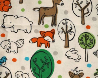 Pre-Order, Woodland Animals, Flannel, Cloth Diaper Wetbag, Diaper Pail Liner, Diaper Bag, Day Care Size, Bag with Handle