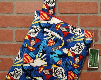 Cloth Diaper Wetbag, Superman, Flannel Diaper Pail Liner, Diaper Bag, Day Care Size, Holds 5 Diapers, Size Medium with Handle item #M74