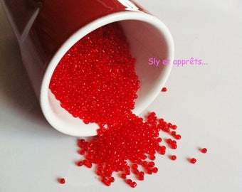 50g of red 2mm seed beads