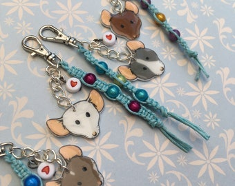 Fancy Rat Key Chain or Bag Charm, Customisable, Pet Rat Gift Accessory, Fun Gift for Rat Owners.