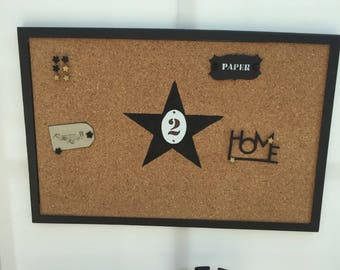 Pictures and charms 60 x 40 cm black Cork wooden board