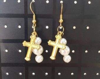 Kawaii Gold Cross Earrings.