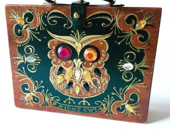1960s Enid Collins Night Owl Purse Vintage 1960s Authentic Signed Enid Collins Night Owl Wood Box Purse Jewels Hand Painted Retro Mod Kitsch
