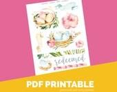 Redeemed Download Printable Bible Journaling, Margin Stickers, Bookmarks, Sticker Printable