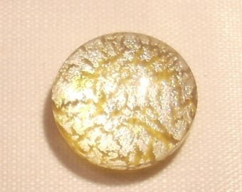 Round 16mm x 1 golden yellow Dichroic Glass cabochon