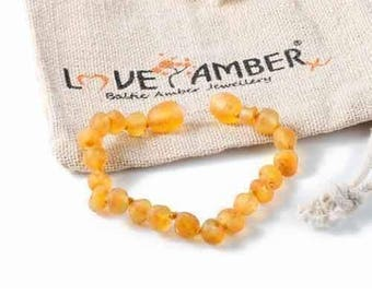 Child Bees Knees Raw Unpolished Honey Baltic Amber Knotted Anklet Genuine Certified Love Amber x Jewellery Jewelry & Teething UK