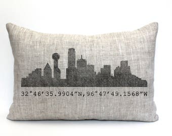 "Dallas skyline pillow, throw pillow, word pillow, phrase pillow, mother's day gift - ""Dallas skyline"""