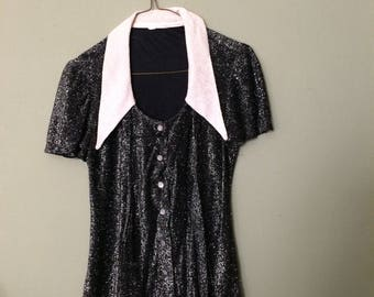 70s Glam Disco Lamé Black and Silver Top