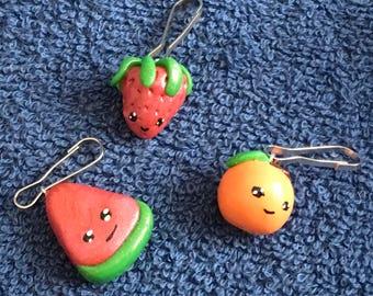 Cute Food Keychain Charms Set / Watermelon / Strawberry / Orange