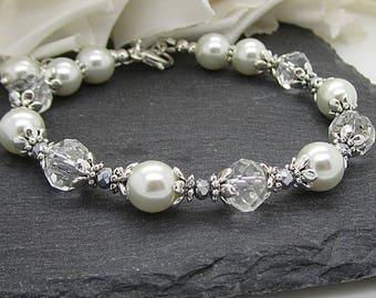Ivory Pearl Bridal Bracelet, Ivory Bridesmaid Jewellery, Ivory Wedding Bracelet, Bridesmaid Gifts, Jewellery For Bride, Gift For The Bride