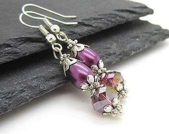 Dark Purple Bridesmaid Pearl Earrings, Eggplant Wedding Jewellery Sets, Pearl Bridal Sets, Bridesmaid Gifts, Pearl Drop Earrings, Handmade