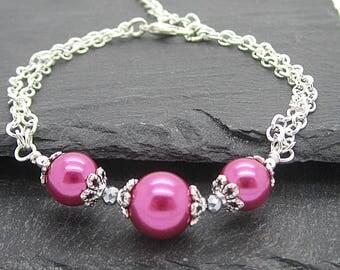 Dark Pink Pearl Bracelet, Simple Pearl Bridesmaid Jewellery, Pink Wedding Bracelet, Bridal Party Gift, Matching Pearl Sets, Bridal Jewellery
