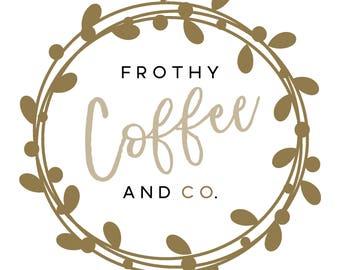 Premade Logo Design     Wreath logo     Gold Logo     Shabby Chic Logo   Watermark   Etsy Branding   Branding Package