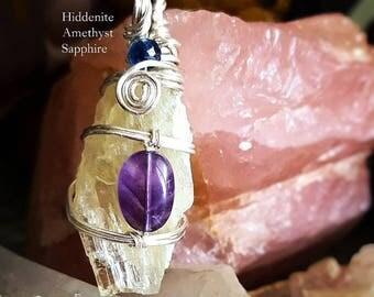 SageAine: Hiddenite/Kunzite Quartz Crystal Amethyst and Sapphire Gemstone, Reiki Charged, Crystal Healing, Crown and Third Eye Chakras