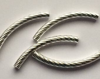4 SILVER-PLATED 4.5 CM CURVED TUBE BEADS
