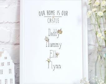 Family 'Our Home Is Our Castle' Personalised Fun Print Father's Day Mother's Day Birthday Christmas New Home Gift
