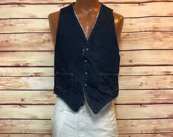 Vintage 70's blue jean denim wool lined western vest