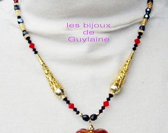 necklace glass heart red