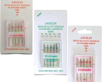 Javelin Standard Sewing Machine Needles Size 14 - 16 - Assorted