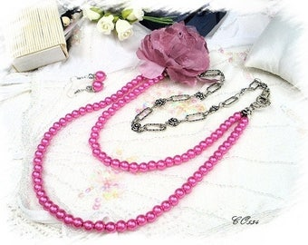 Pearly Bead Necklace and pink flower * CO534