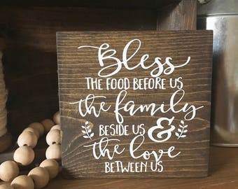 Bless the food before us sign - Kitchen Sign - Prayer Sign - Thanksgiving Sign