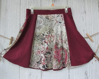 T Shirt Skirt  Bohemian Skirt  Recycled / Eco Friendly Clothing /