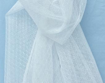 White iridescent point d'esprit lace fabric