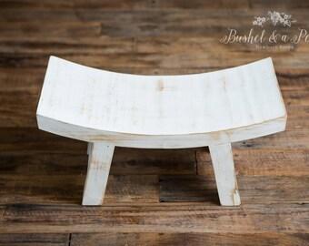 Sitter Wooden Stool-Newborn Photography Prop-Antique White