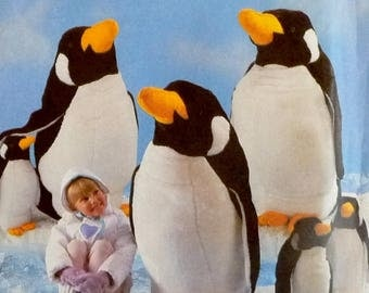 "Penguins Simplicity 8212 Craft Sewing Pattern, Stuffed Penguins Large 41"" and Small 22"" UNCUT"