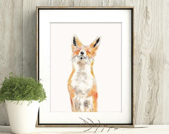 Joy, Fox Art Print, Fox Framed Wall Art, Fox watercolour Painting