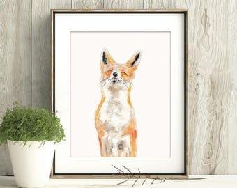 Joy, Fox Art Print, Fox Framed Wall Art, Fox watercolour Painting
