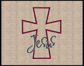 Cross Applique with Jesus Embroidery Design Cross machine embroidery design Easter Applique Embroidery Design with word Jesus