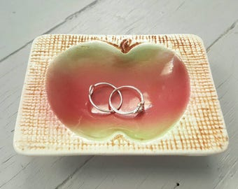 Vintage Apple Trinket Dish Ceramic Japan