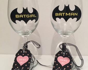 Set of Batman/Batgirl Wine Glasses