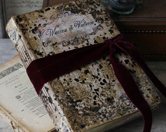 Rustic wedding guest book, Romantic French barn wedding, traditional wedding photo album,  wedding scrapbook 8.5x6''