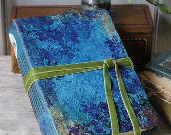 Blue and green wedding guest book, Beach wedding scrapbook, memory book, vintage style photo album, 8.5x6 inches FREE SHIPPING