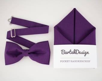 Ultra Violet Matching Set Bow Tie Pocket Square Purple Bow Tie Purple Handkerchief Wedding Set for Men Groomsmen Bow Tie Mens Gift Hankie