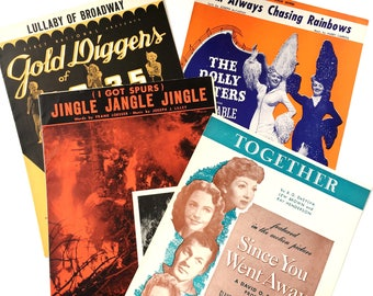 Hollywood movie sheet music set • 1930's | 1940's • piano sheet music • set of 4 | Busby Berkeley | Betty Grable | Claudette Colbert