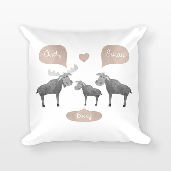 Moose Nursery Pillow Personalized Baby Gift Baby Shower Gift, Woodland Nursery Decor Pillow for Kids Room Decor, Animal Nursery Throw Pillow
