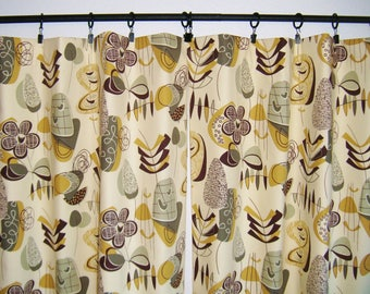 Mid Century Modern Lined Cafe Curtain Set, Geometric, Contemporary, Abstract Art, 50's Retro Camper, Atomic Door Curtains, Window Curtains