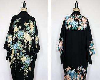 Vintage 1920s - 30s Japanese reversible kimono - 1920s Japanese silk kimono - 20s Kimono - 20s silk robe - 20s flapper robe - Vintage kimono