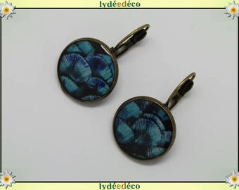 Retro round sleeper vintage Peacock turquoise blue purple black resin brass feather bronze 2cm