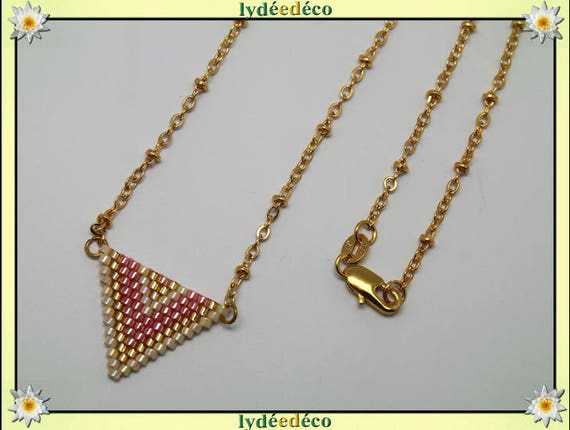 Necklace plated 18 k pink beige and gold woven triangle chevron chain ball