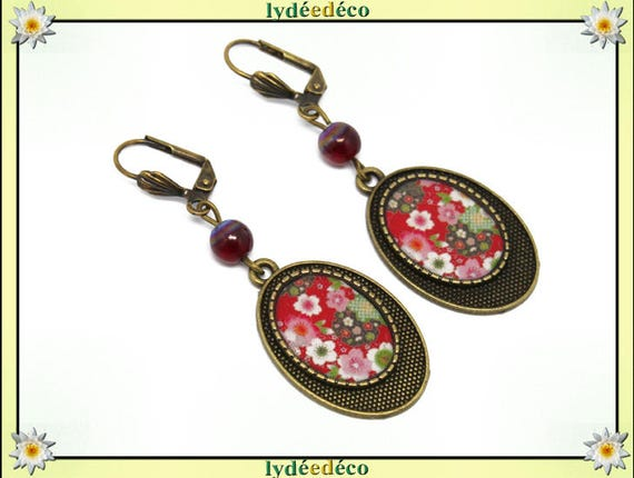 Earrings retro felur cherry sakura red green white resin bronze beads glass pendants