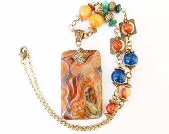 Psychedelic collection in red, multicolor wrapped agate necklace