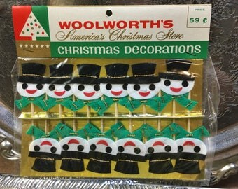 Vintage Christmas Snowman Decoration Unopened Package of 12 Woolworth's Mid-century Ornament